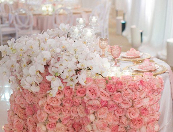 luxury pink roses and ivory orchid wedding sweetheart table