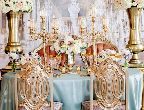 luxury vintage gold and dusty blue sweetheart wedding table
