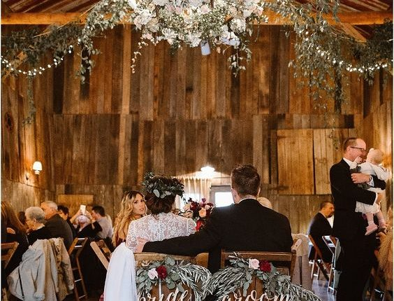 rustic barn greenery sweetheart table decor