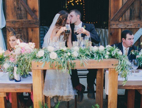 rustic country barn greenery sweetheart table decor