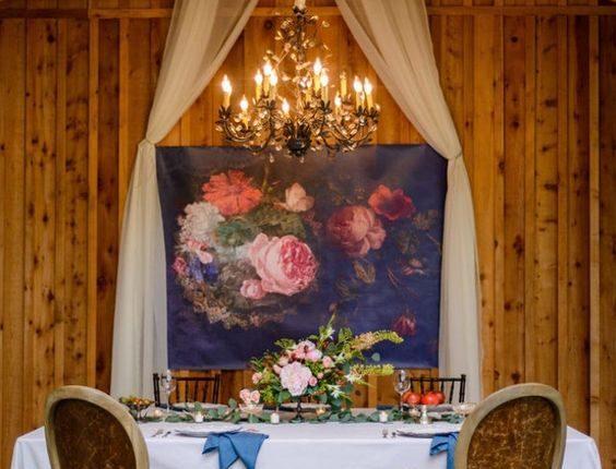 vintage barn wedding sweetheart table