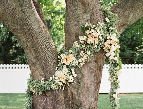 backyard greenery tree wedding backdrop