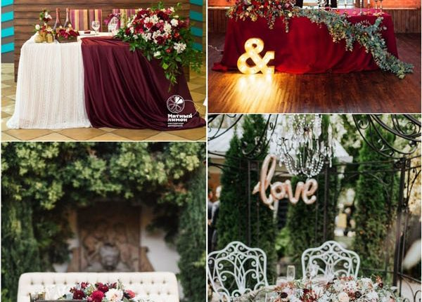 rustic fall burgundy greenery sweetheart table reception ideas