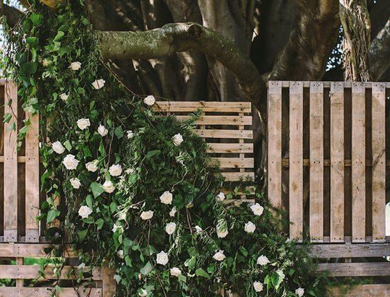 rustic wedding ceremony backdrop