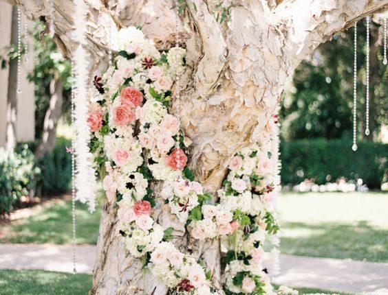 vintage pastel flowers spring wedding tree backdrop