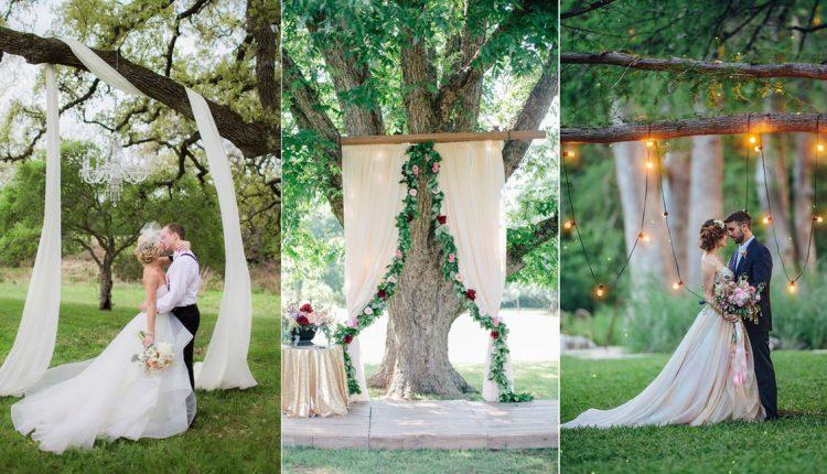 wedding ceremony tree wedding backdrop