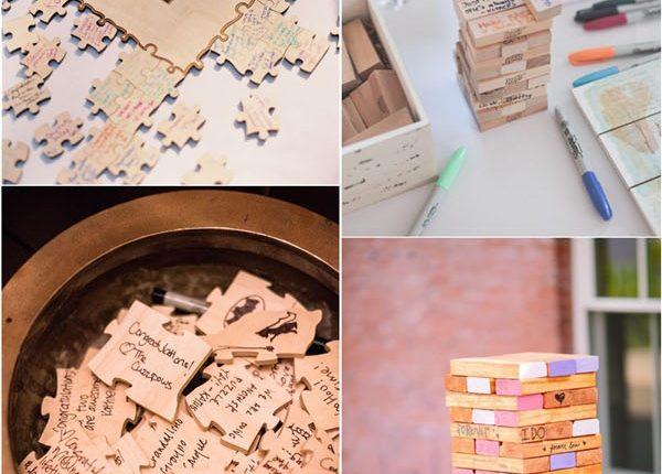 Creative Jenga Wedding Guestbook Idea