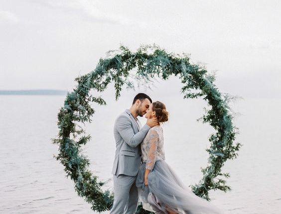Moody Baltic Sea greenery wedding wreath ideas