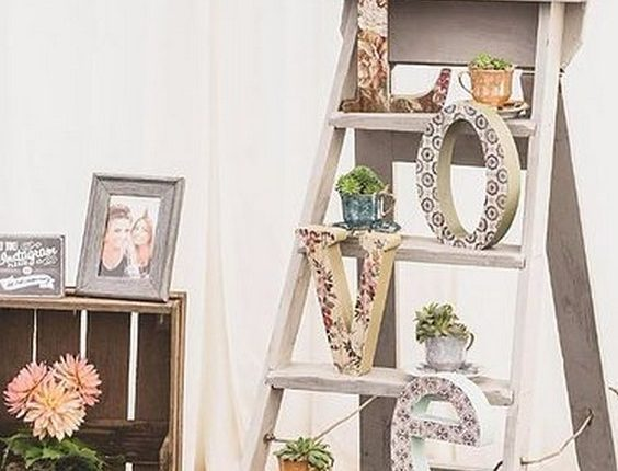 Vintage Wooden Step Ladders Wedding Prop with Love Sign & Tea Cups Filled with Succulents