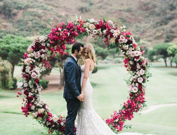 boho maroon circle wedding arch