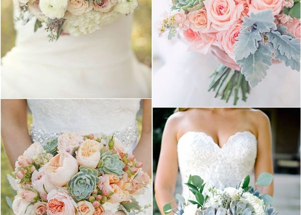 bridal wedding bouquet with succulents