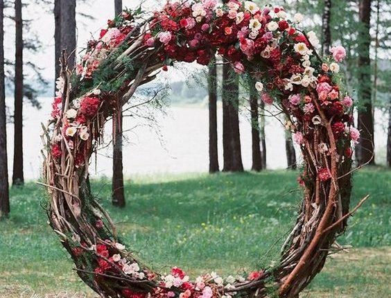 fall floral giant wreath wedding arch ideas