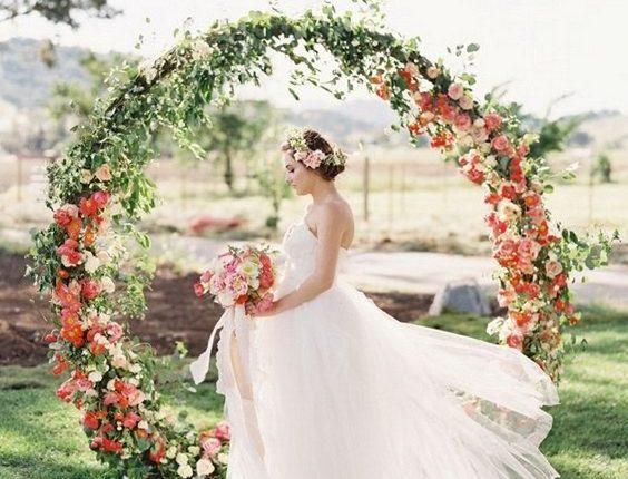 flower and greenery circular wedding backdrop