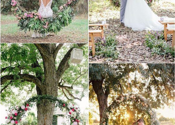 flower and greenery circular wedding backdrop ideas