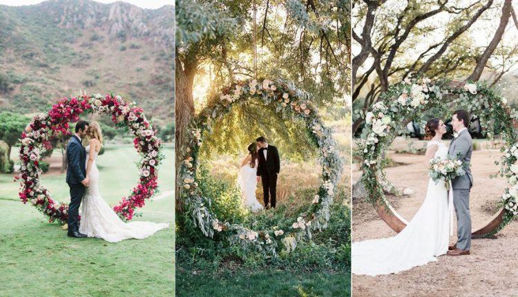 greenery wedding wreath backdrop ideas