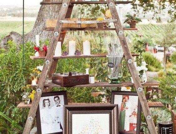 old photos, sparklers, candles, vintage ladder wedding decor