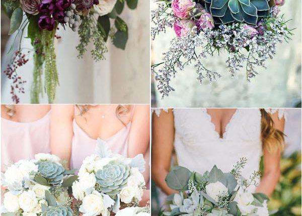 rustic wedding bouquet featuring succulents