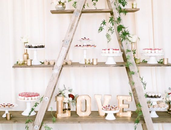 vintage ladder dessert display