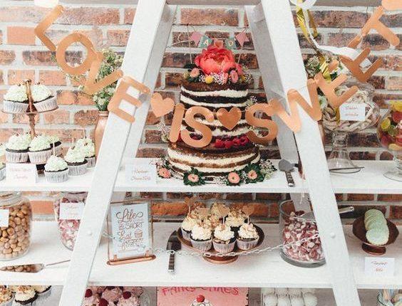 vintage ladder wedding dessert table decor