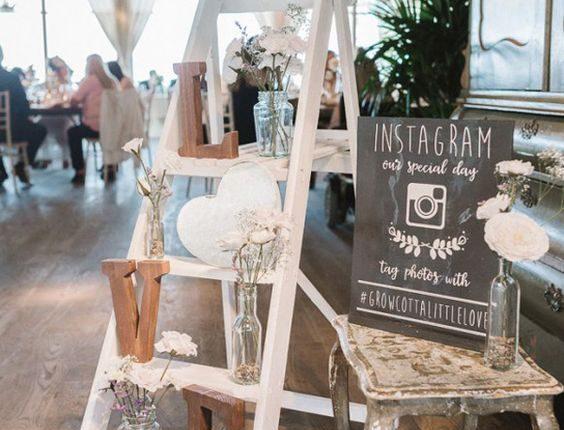 vintage ladders wedding reception decoration ideas