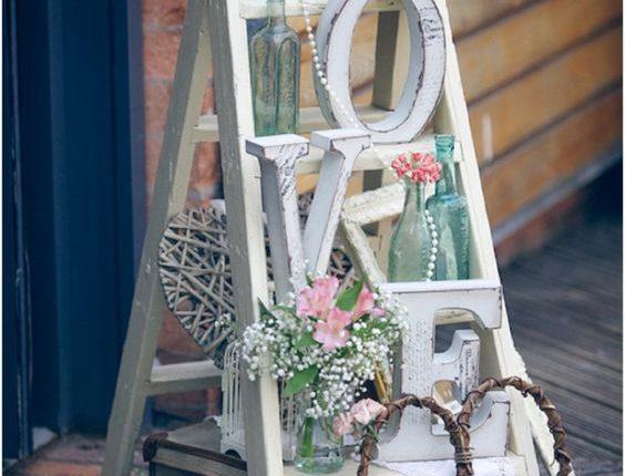 vintage white ladder wedding welcomr sign