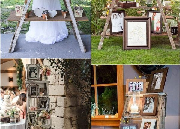 vintage wooden ladder wedding decor ideas