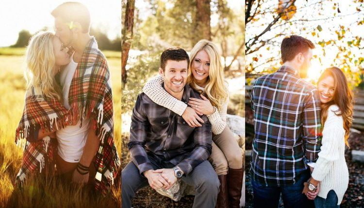 Fall engagement photo poses and pictures