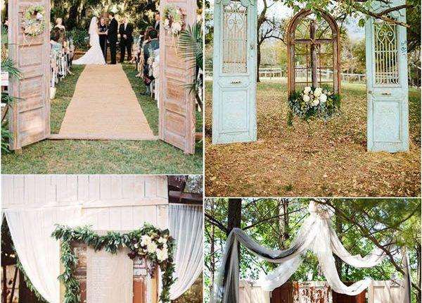 old door vintage wedding backdrop