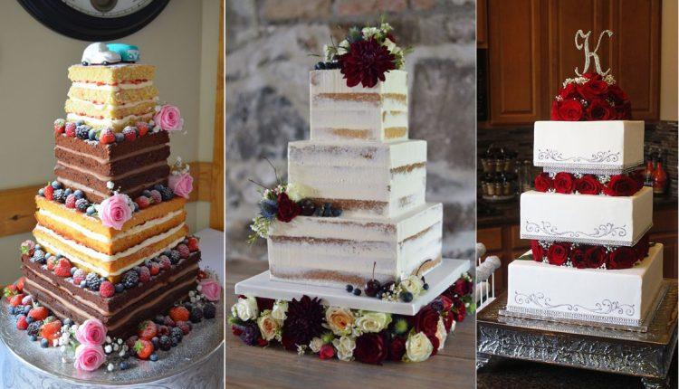 vintage classic square wedding cakes