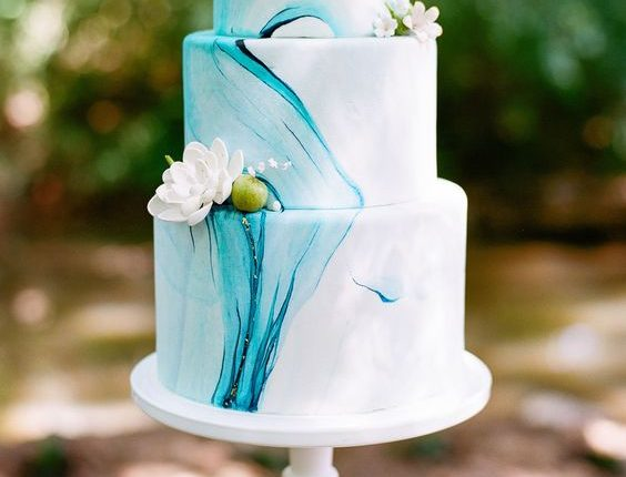 Blue Marble Wedding Cake with Gold flakes