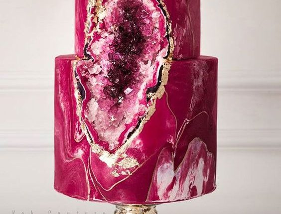 Bold and beautiful magenta geode cake
