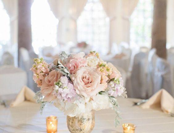Elegant blush and gold wedding centerpiece