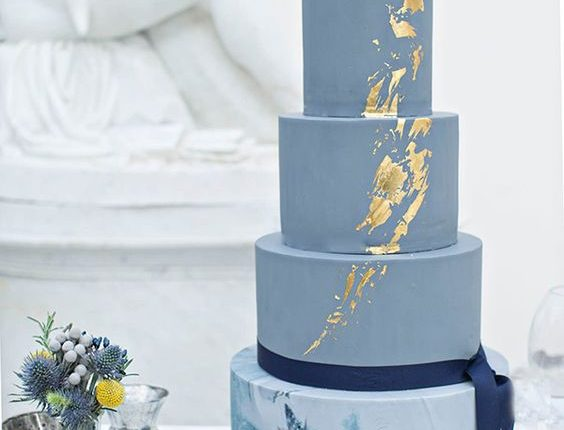 Metallic Dusty Blue Marble Wedding Cakes