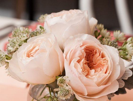 Simple, short pinky peach roses in a glass container filled with water wedding centerpiece