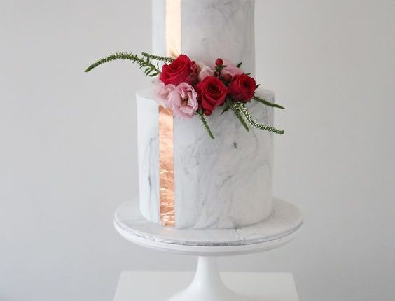 Sweet Bakes Mable Wedding Cake with Copper Stripe & Flower Decor