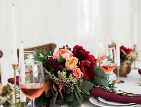 blush peach burgundy wedding centerpiece