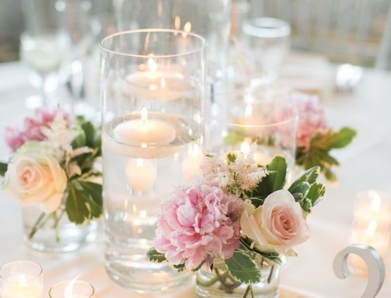 blush pink floating candle centerpieces