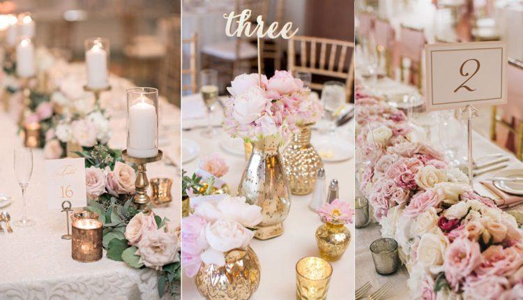 blush pink wedding centerpiece decor ideas
