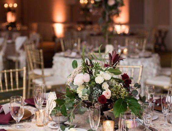 burgandy and blush florals wedding centerpiece