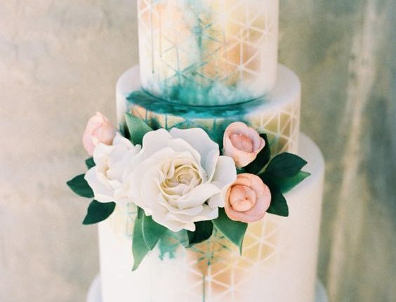 gold and emerald geo wedding cake