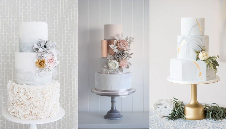 gold and gray marble wedding cakes