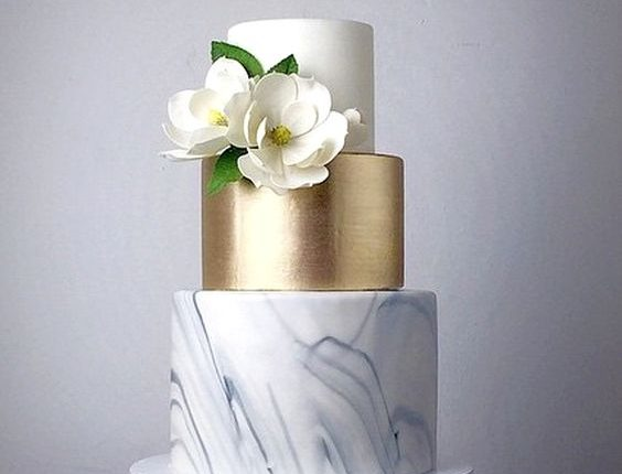 gray and gold marble wedding cake