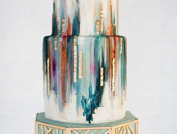 green watercolor geo wedding cake