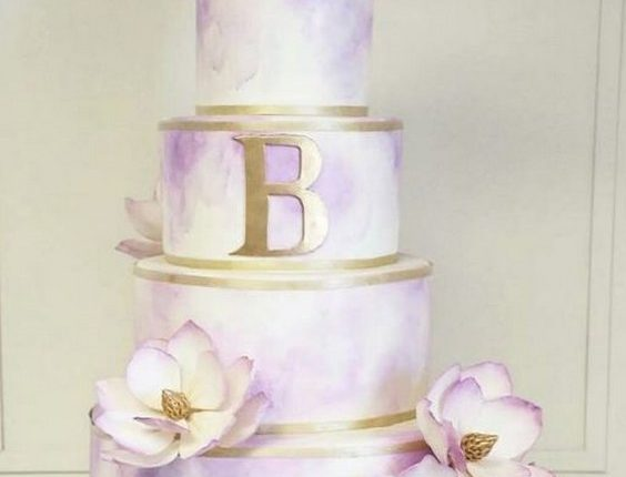 purple watercolor wedding cake idea