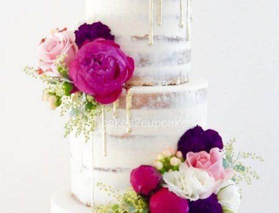rustic naked drip wedding cake