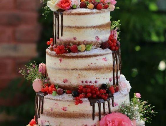 semi naked dripped wedding cake