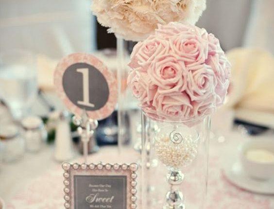 sweetest vintage blush pink wedding centerpiece