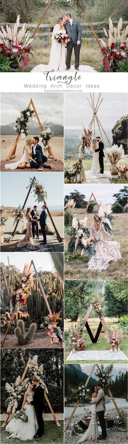 Boho Triangle wedding alter arch decor ideas
