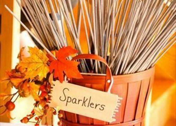 autumn wedding sprklers