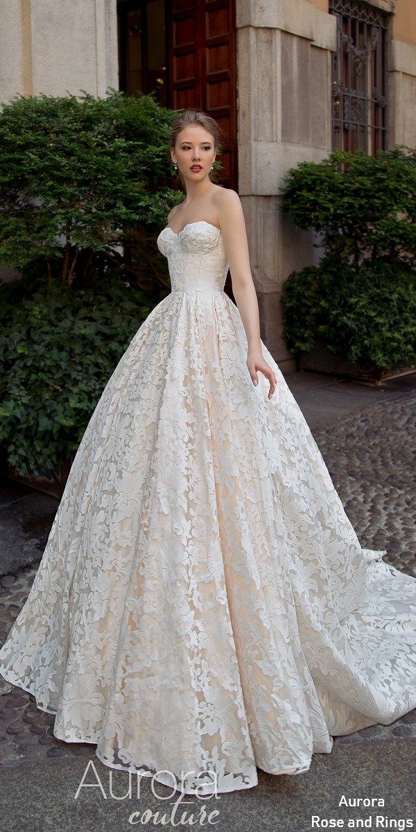 Ball gown strapless lace wedding dress BARBARA